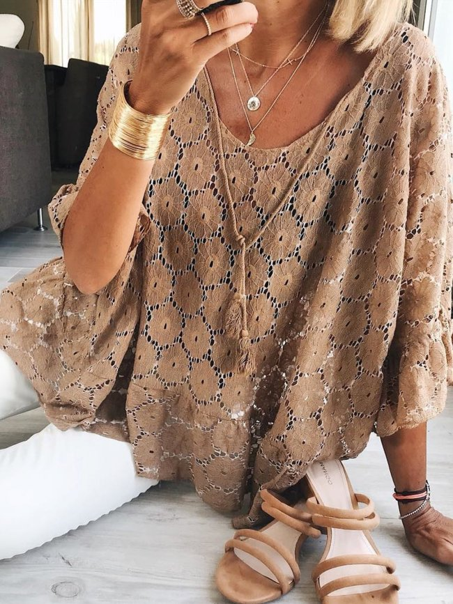 Plus Size Casual 3/4 Sleeve Tops