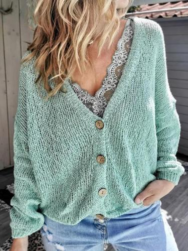 Green Casual V Neck Long Sleeve Tops