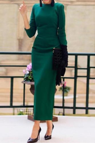 Elegant Fashion Noble Slim Plain Back-Button Long Sleeve Evening Dress
