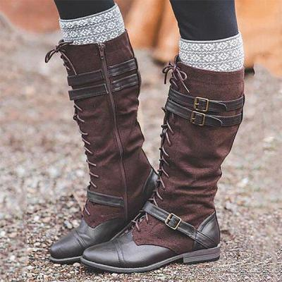 Vintage Lace Up Mid-calf Split Joint Boots Adjustable Buckle Low Heel Boots