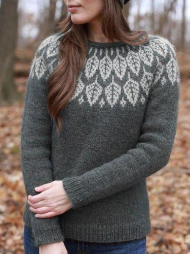 Leaf Printed Crew Neck Long Sleeve Sweaters