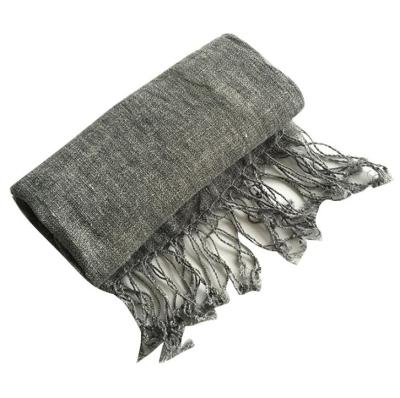 100% Linen Solid Color Mens' Scaves Summer Spring Japanese Style Air Conditional Shawls Large Size Wraps With Tassels 45x200cm