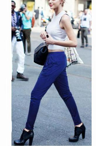 Daily Casual Solid Cotton-Blend Pants