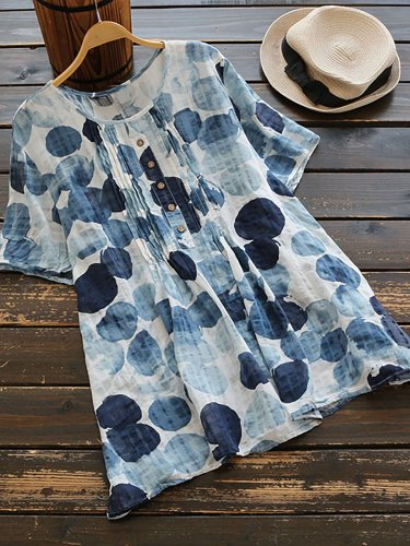 Short Sleeve Printed Crew Neck Casual T-Shirt