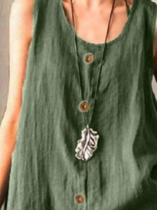 Green Buttoned Cotton-Blend Sleeveless Shirts & Tops