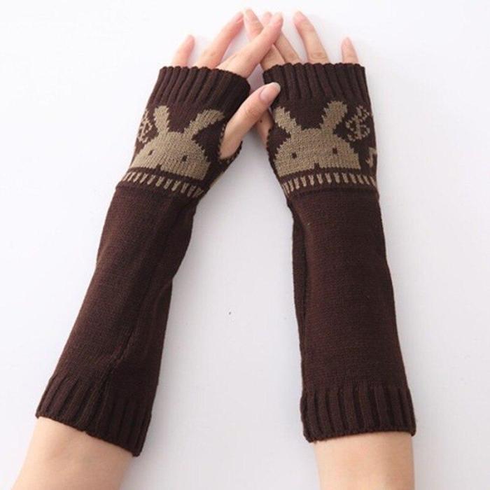 Autumn / Winter New Rabbit Head Gloves Fingerless Woolen Warm Gloves for Men and Women Knitted Half-finger Arm Sets