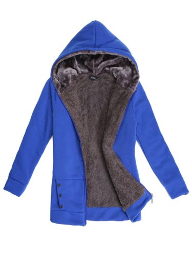 Solid Buttoned Long Sleeve Hoodie Coat