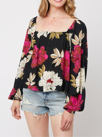 Floral Square Neck Casual Shirts & Tops