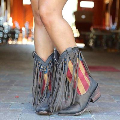 Women's Fringed Low Heel Casual Boots