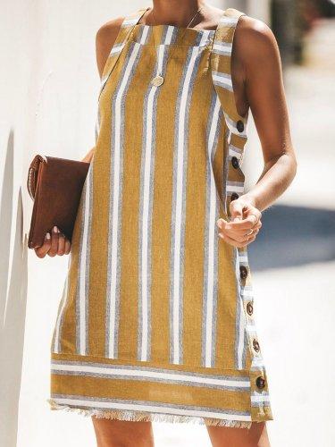 Striped U-Neck Vintage Casual Dresses