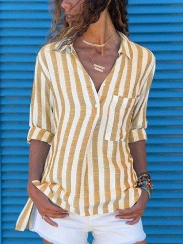 Casual V Neck Cotton-Blend Long Sleeve Shirts