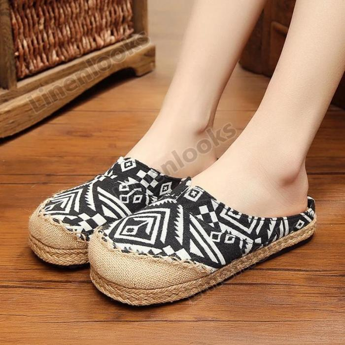 Female Slippers Beach Breathable Linen Women Casual Shoes Fashion Embroidery Slippers