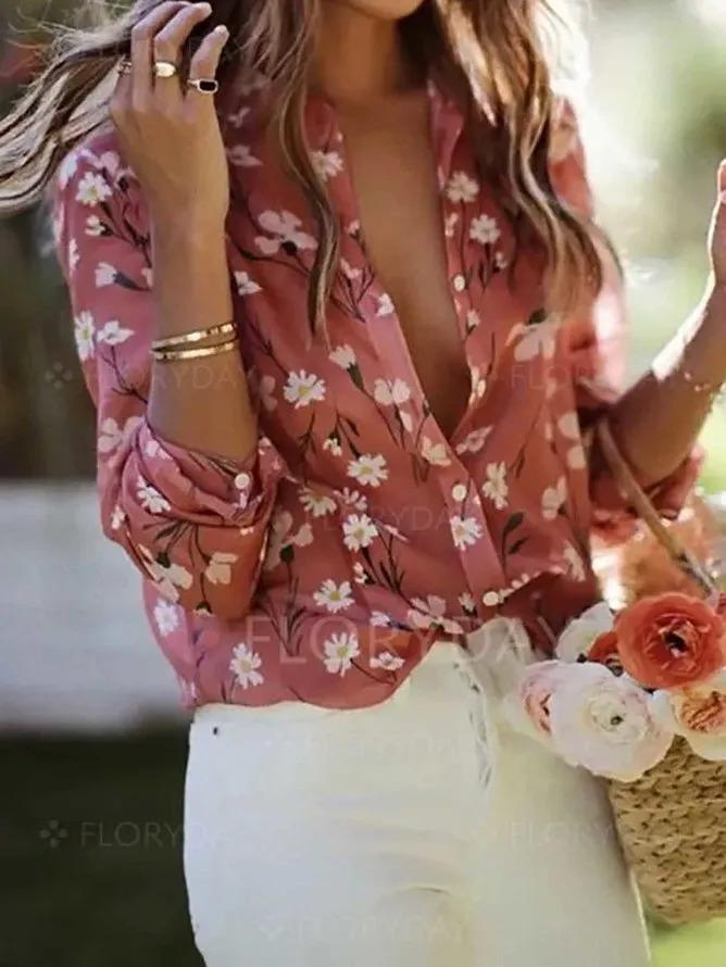 Pink Cotton Long Sleeve Shirts & Tops