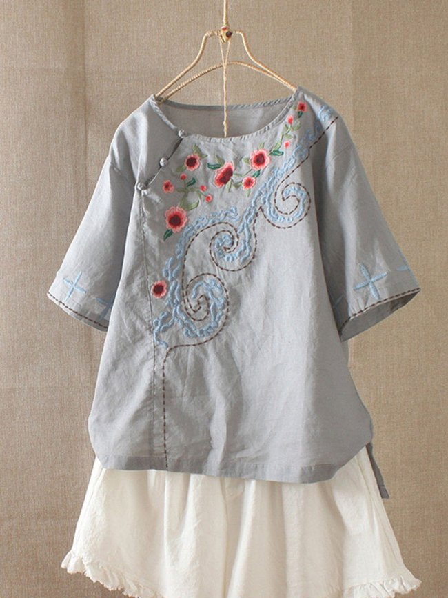 Round Neck Short Sleeve Embroidered Cotton-Blend Shirts & Tops