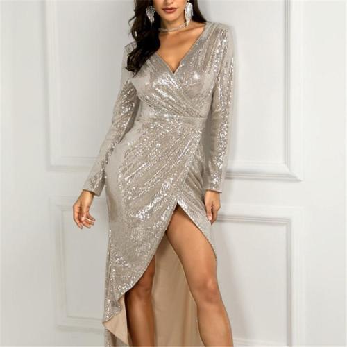 Fashion Sexy V Neck   Sequins Show Thin Maxi Dress