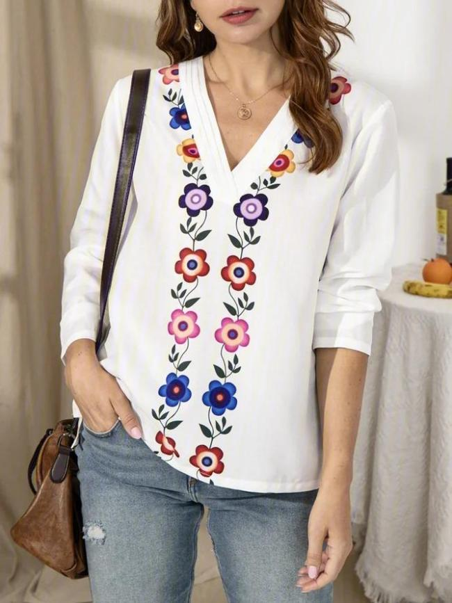 Crew Neck Casual Printed Shirts & Tops