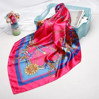 Fashion Print Scarves For Women Silk Satin Hijab Scarf Female 90*90cm