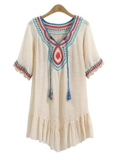 Vintage Short Sleeve V Neck Casual Women Dress