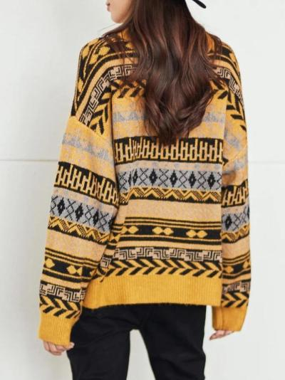 Yellow Shift Knitted Casual Geometric Sweater