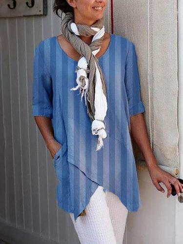 Casual Striped Asymmetrical Shirts & Tops