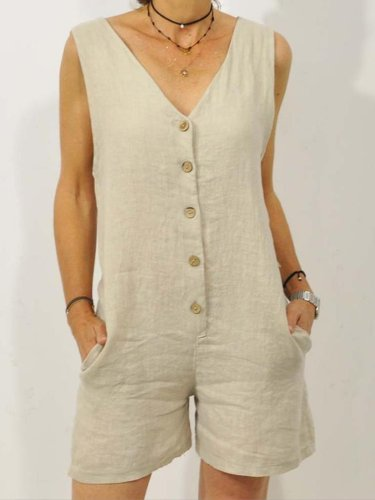 Casual V Neck Solid Sleeveless Suits