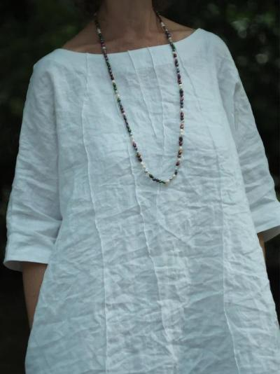White Plain 3/4 Sleeve Crew Neck Dresses