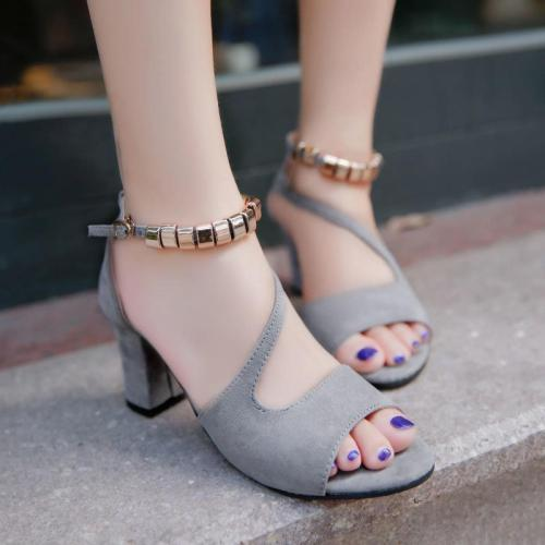Women Bead Cut out Chunky Heel Summer Suede Sandals