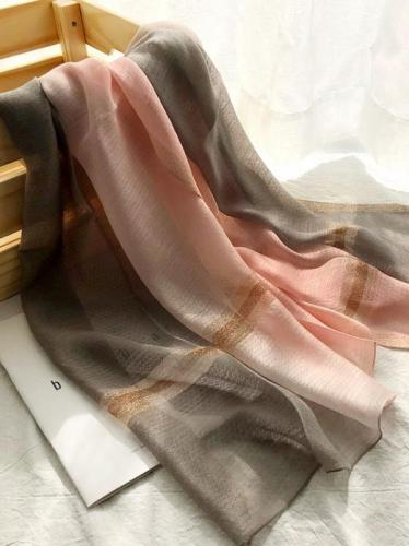 Silk Fashion Split-color Soft Scarf