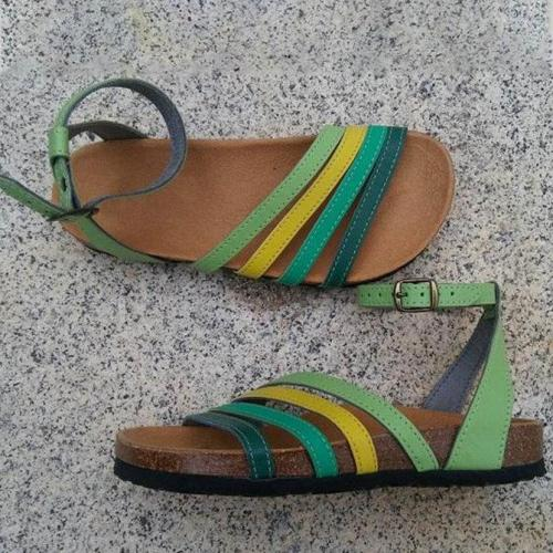 Green Artificial Leather Outdoor Flat Heel Sandals