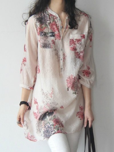 Casual 3/4 Sleeve Floral Blouse