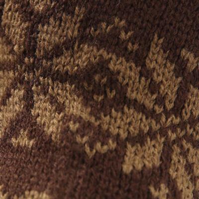 Knitted Long Fingerless Gloves Mitten Vintage Print Soft Mitten