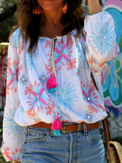 V Neck Boho Floral-Print Shirts & Tops