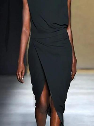 Plus Size Cotton-Blend Plain Sleeveless Dresses
