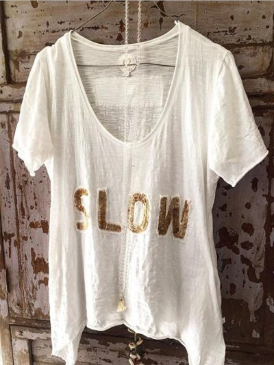 Casual Round Neck Short Sleeve Letter Shirts