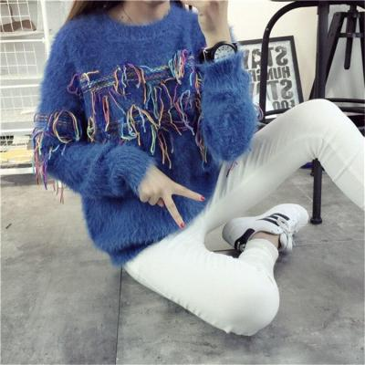2020 Spring Autumn Women Sweater and Pullovers Female Patchwork Color Tassel Decoration Knitted Women Sweater Pullovers Befree