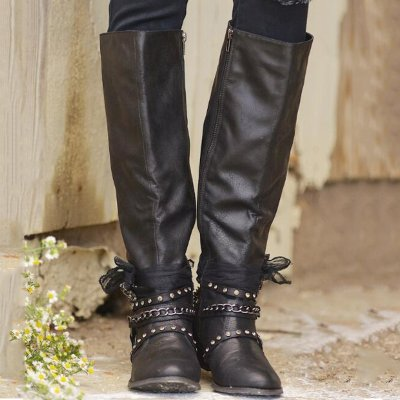 Winter Vintage Chunky Heel Buckle Strap Boots