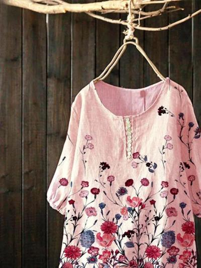 Pink Short Sleeve Sweet Cotton-Blend Shirts & Tops