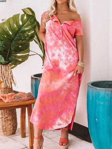 Tie Dye V Neck Casual Maxi Dress