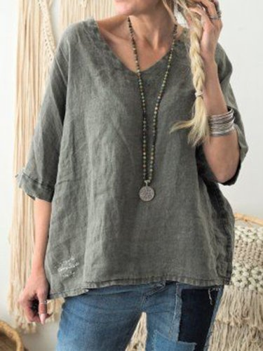 Half Sleeve V Neck Solid Casual Blouse