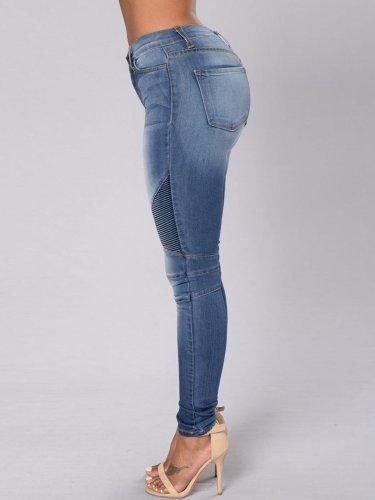 Gradient Pleated Patchwork Pocket Jeans