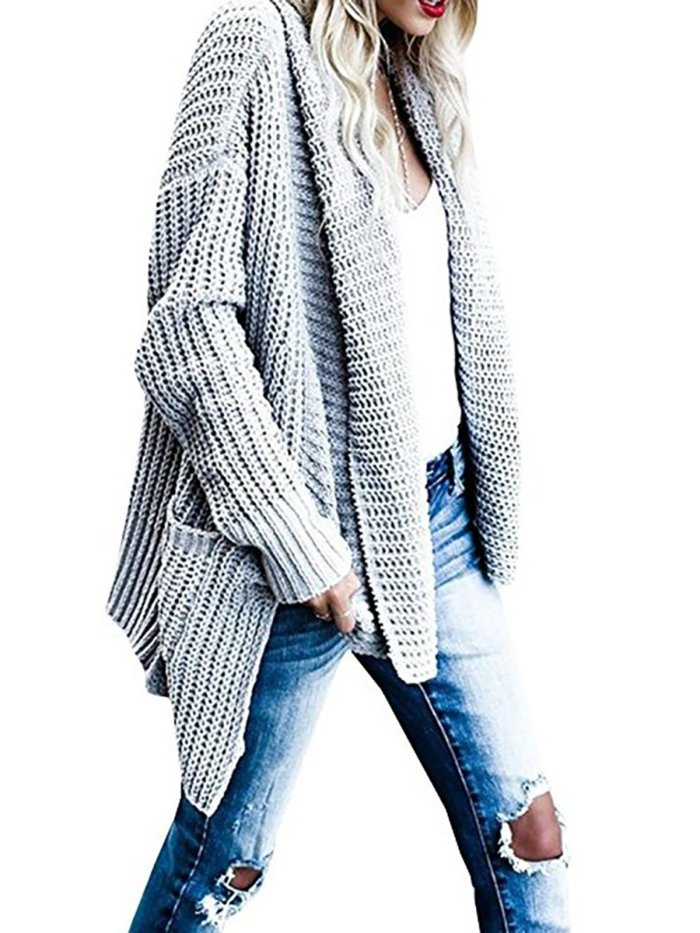 Solid Shawl Collar Casual Knitted Sweater