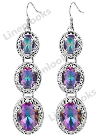 925 Sterling Silver Drop Earrings for Charm Women with Oval Rainbow Mystic Topaz
