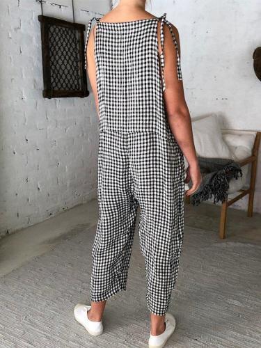Denim Linen Black and White Checkered Shift Jumpsuits