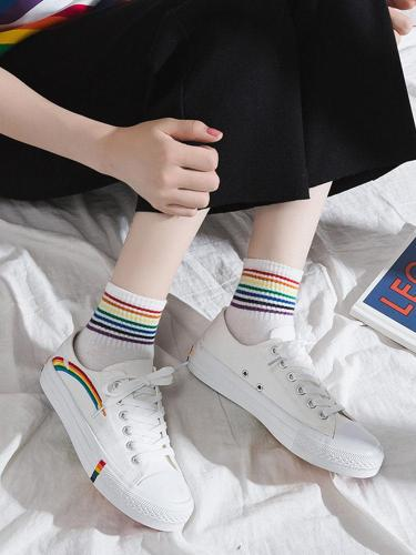 Korean Version Of Rainbow Canvas Shoes