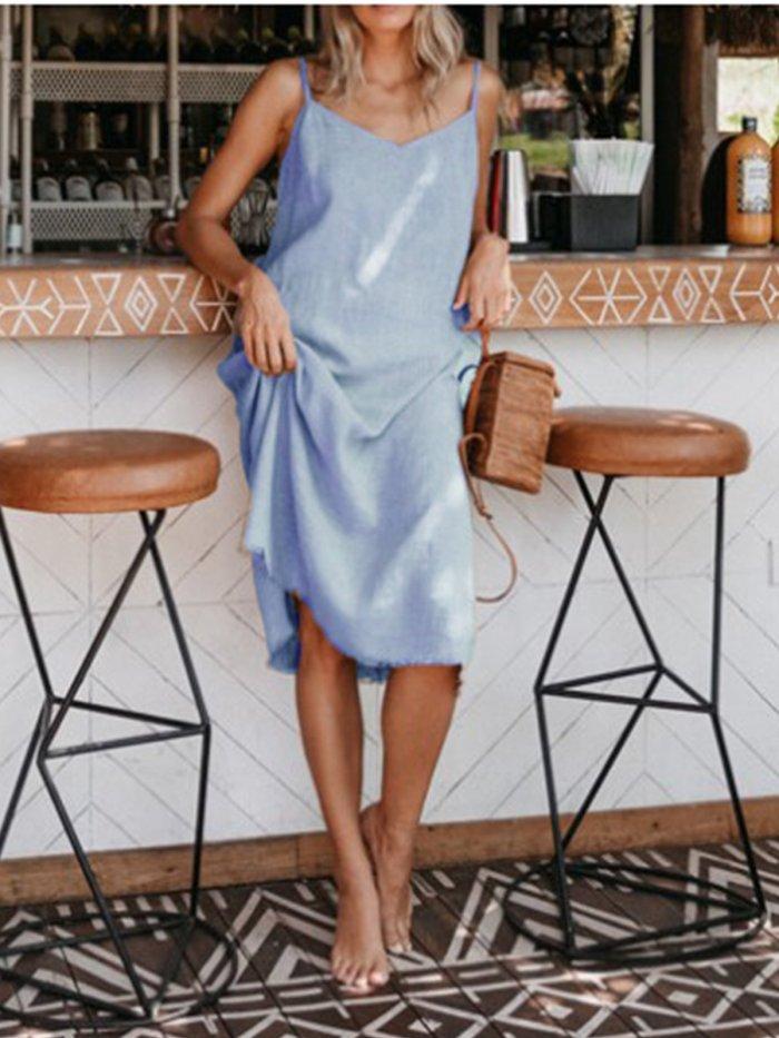 Linen Solid Casual Dresses