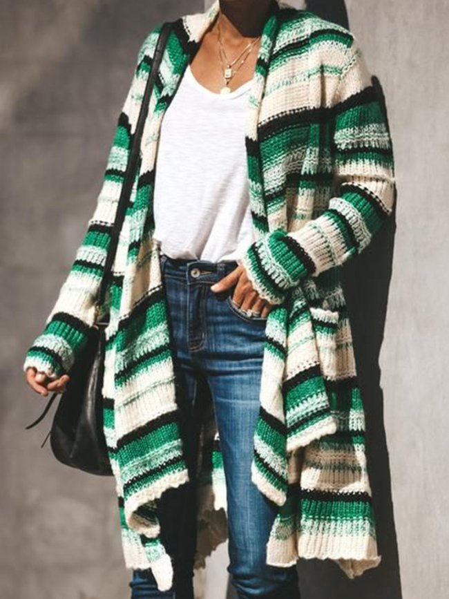 Color-block Long Sleeve Knitted Patchwork Outerwear