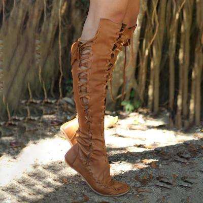 Women PU Booties Casual Lace Up Knee Length Flat Shoes