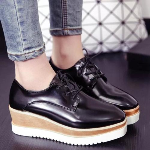 Women Creepers Loafers Casual Comfort Lace Up Shoes