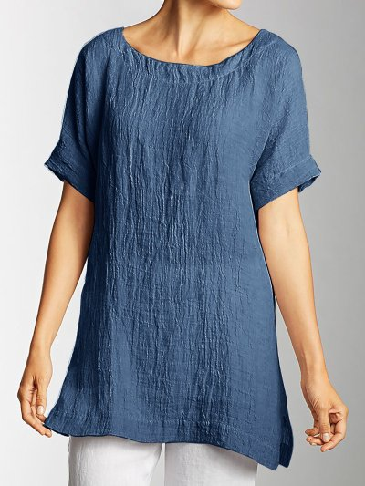 Side Slit Short Sleeve Plus Size Shirts
