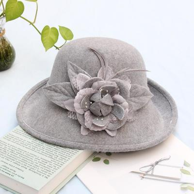 Feather Flower Hat Casual Felt Hat